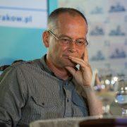 """Fot. Krzysztof Lis. Salon Literacki Biblioteki Kraków """"Pod Gruszką. Spotkanie z Michałem Zabłockim"""