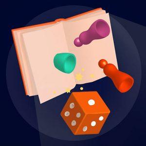 Książka, kostka do gry i pionki