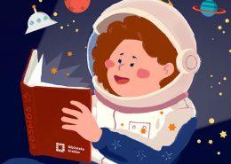 Czytające dziecko w kostiumie kosmonauty w Kosmosie