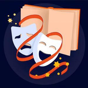 Książka i maski teatralne