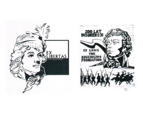 Dwa przykładowe ekslibrisy z wystawy Insurekcja kościuszkowska