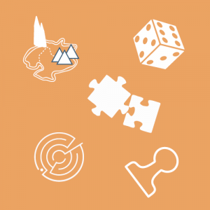 Biale zarysy ikon: puzle, kostka do gry, pionek