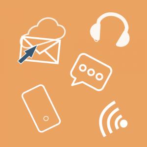 Biale zarysy ikon: telefon komórkowy, słuchawki, list