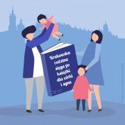 Rodzice z dwójką dzieci i wielką książką