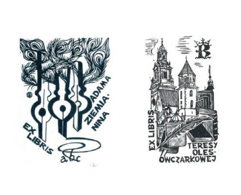 Dwa przykładowe ekslibrisy z wystawy Poeci w ekslibrisie