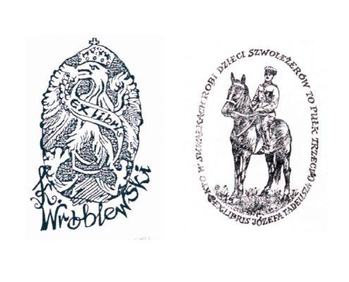 Dwa ekslibrisy z wystawy Wojna obronna