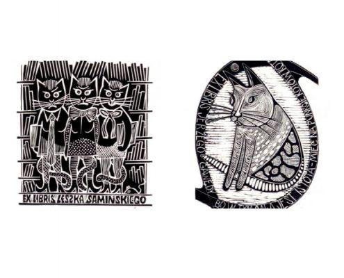 Dwa przykładowe ekslibrisy z wystawy Zwierzyniec