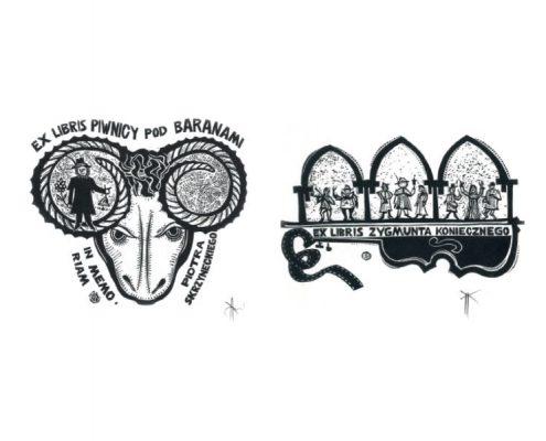 Dwa ekslibrisy z wystawy Teatr w ekslibrisie