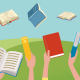 Na rysunku kolorowe okładki książek