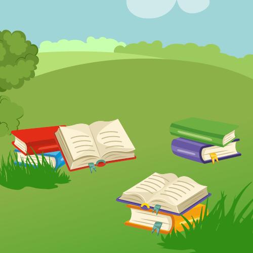 Rysunek z kolorowymi książkami leżącymi na trawie