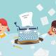 maszyna do pisania pomiędzy dwójką dzieci