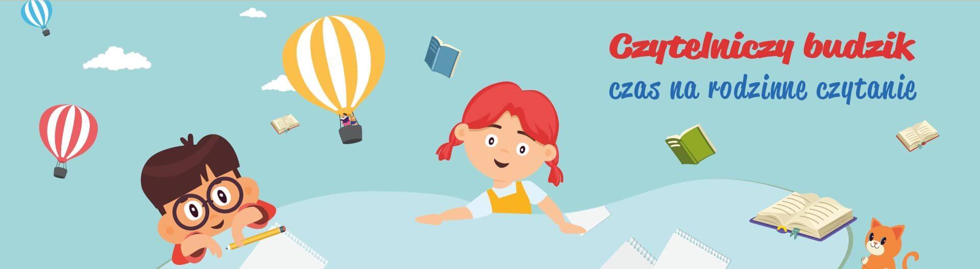 Na obrazku roześniami dziewczynka i chłopiec, a w tle latający balon i książki