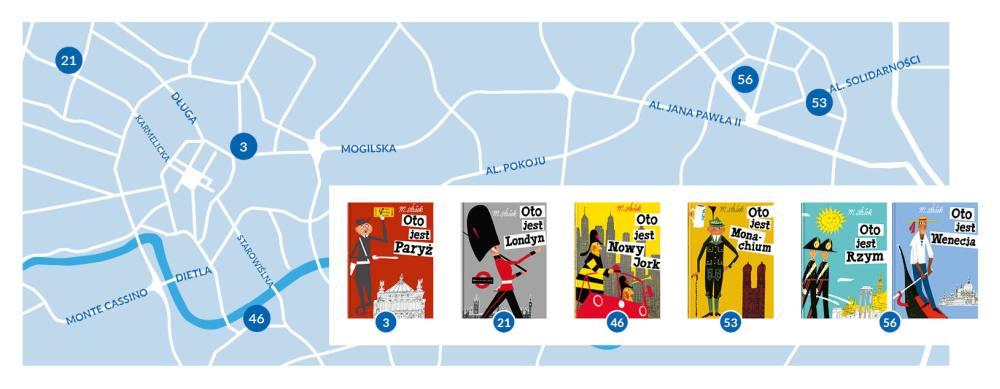 W tle mapa z lokalizacją bibliotek w Krakowie. na pierwszym planie okładki książek