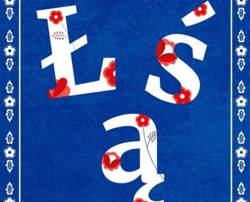 Litery ł, ś, ą na niebieskim tre