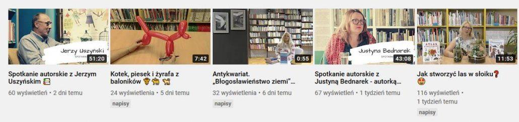 Obrazek z przykładowymi filmami na Youtube Biblioteki. Przejście do kanału na youtube