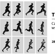 Na obrazku ciemne, biegnące postaci na szarym tle i informacje o wystaiwe