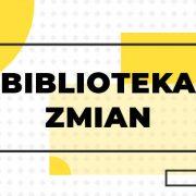 Na grafice żółte elementy: kwadraty i koła - wyglądem przypominające projekt wnętrza biblioteki